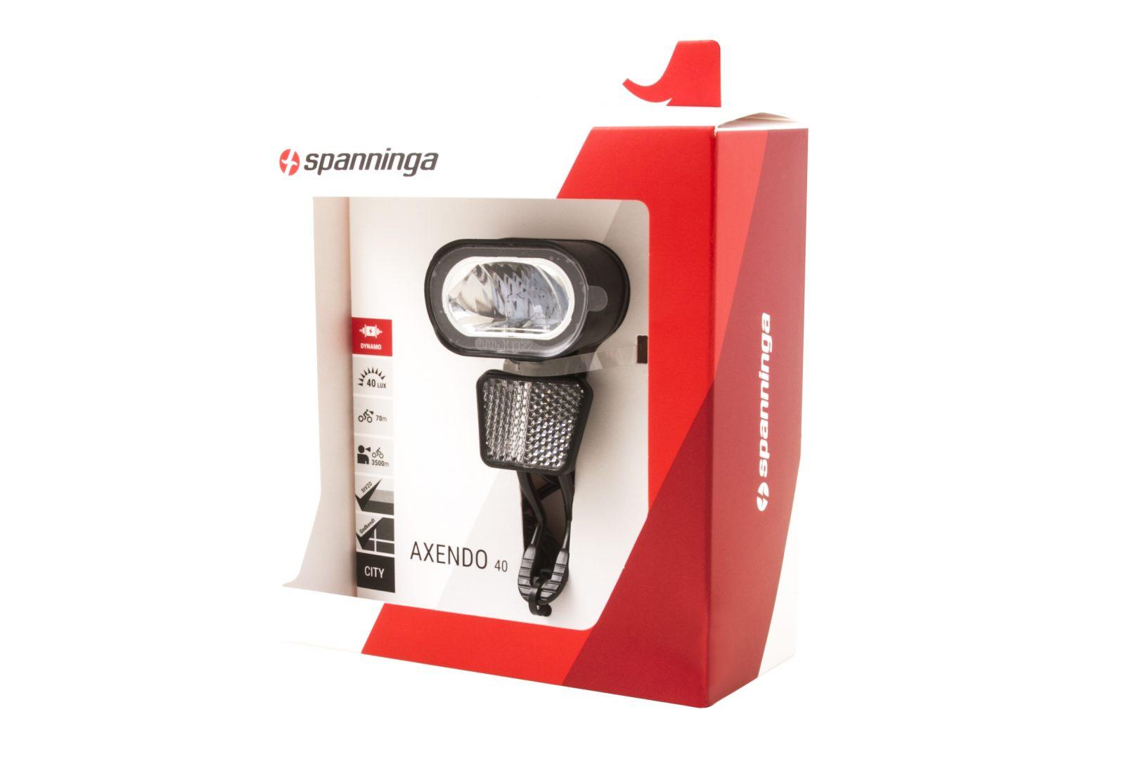 """40 Lux SPANNINGA Fahrrad LED-Scheinwerfer /""""Axendo XDAS/"""" mit Standlicht"""