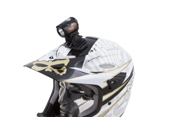 Thor 1100 on motor helmet with adaptor
