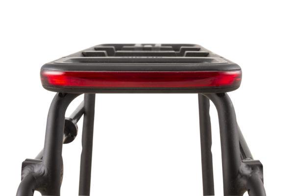 Glow on bike carrier rear view light off