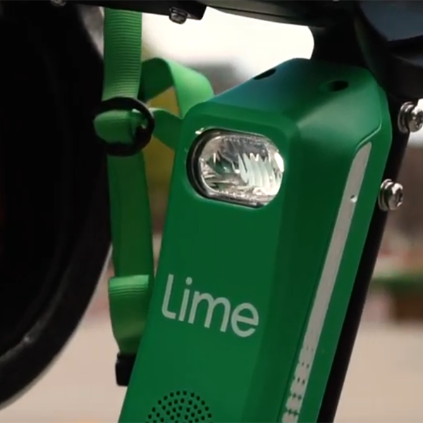 Lime e-scooter integrated headlamp